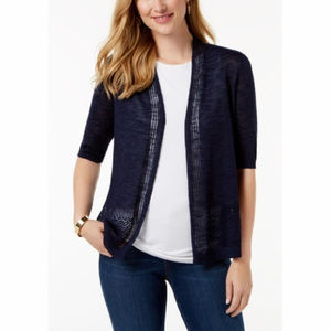 Charter Club Navy Pointelle-Knit Cardigan
